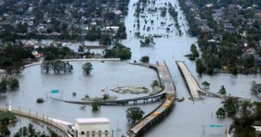 Foto van de overstroming in New Orleans als gevolg van de orkaan Katrina