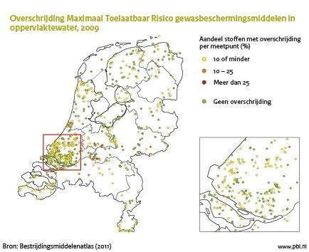 Figuur: kaart Nederland waaruit blijkt dat de ecologische kwaliteit van het oppervlaktewater niet op orde is