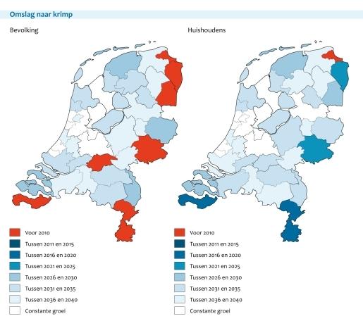 Figuur: 2 kaarten van Nederland met daarin de krimp van de bevolking en huishoudens per regio aangegeven.