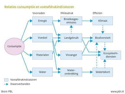 Figuur: schematische weergave van de relaties tussen consumptie en ecologische voetafdrukindicatoren (PBL)