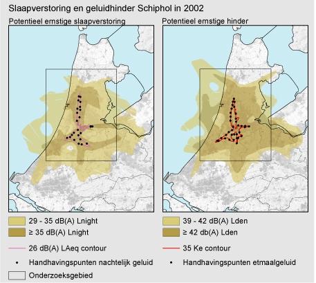 Figuur:  kaart van Schipholgebied met handhavingspunten voor geluid (links etmaalgeluid, rechts nachtelijk geluid) en het gebied waarbinnen geluidhinder (links) respectievelijk slaapverstoring (rechts) optreden.