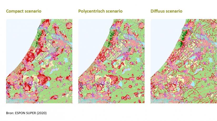 Drie kaarten van Zuid- en Noord-Holland met de Compacte, Polycentrische and Diffuse scenario's.