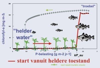 Figuur: schematische weergave van hysteresis effect in meren bij dalende fosfaatbelasting, start vanuit een heldere toestand
