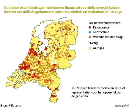 Figuur: landkaart van Nederland met gebieden waar lokale warmtebronnen financieel voordelig energie kunnen leveren aan utiliteitsgebouwen in 2050 (PBL, 2012))