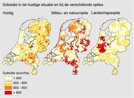 Figuur: landbouwsubsidies kaart, subsidie in de huidige situatie en bij verschillende opties (PBL); Gerichte inzet van subsidies heeft een negatief effect op het inkomen in de landbouw en op het aantal landbouwbedrijven in Nederland